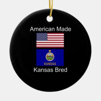 """American Born..Kansas Bred"" Flags and Patriotism Ceramic Ornament"
