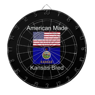 """American Born..Kansas Bred"" Flags and Patriotism Dartboard"