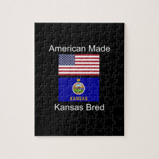 """American Born..Kansas Bred"" Flags and Patriotism Jigsaw Puzzle"