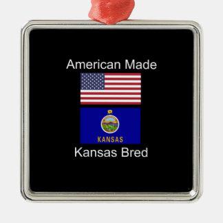 """American Born..Kansas Bred"" Flags and Patriotism Metal Ornament"