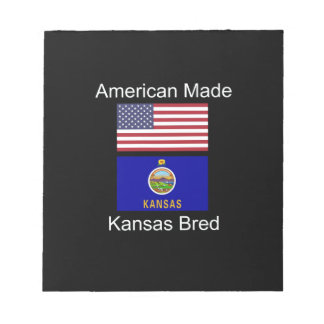 """American Born..Kansas Bred"" Flags and Patriotism Notepad"