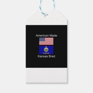 """""""American Born..Kansas Bred"""" Flags and Patriotism Pack Of Gift Tags"""