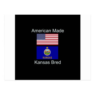 """American Born..Kansas Bred"" Flags and Patriotism Postcard"