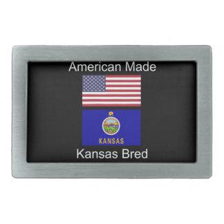 """American Born..Kansas Bred"" Flags and Patriotism Rectangular Belt Buckle"