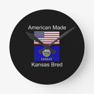 """American Born..Kansas Bred"" Flags and Patriotism Round Clock"
