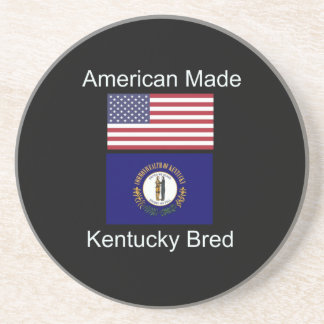 """American Born..Kentucky Bred"" Flag Design Beverage Coaster"