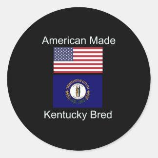 """American Born..Kentucky Bred"" Flag Design Classic Round Sticker"
