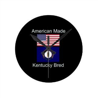 """American Born..Kentucky Bred"" Flag Design Round Clock"