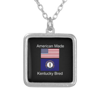 """American Born..Kentucky Bred"" Flag Design Silver Plated Necklace"