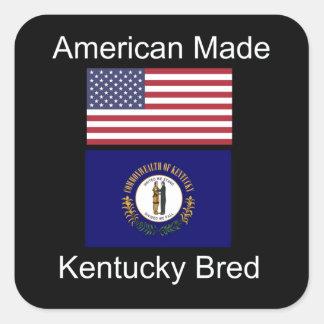 """""""American Born..Kentucky Bred"""" Flag Design Square Sticker"""