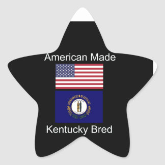 """American Born..Kentucky Bred"" Flag Design Star Sticker"