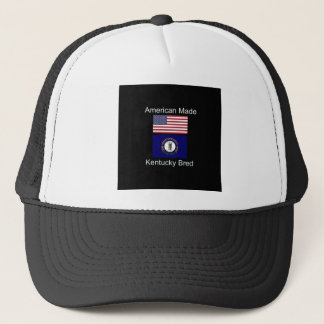 """American Born..Kentucky Bred"" Flag Design Trucker Hat"