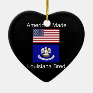 """""""American Born..Louisiana Bred"""" Flag Design Ceramic Ornament"""