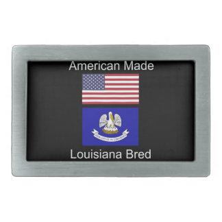 """American Born..Louisiana Bred"" Flag Design Rectangular Belt Buckles"
