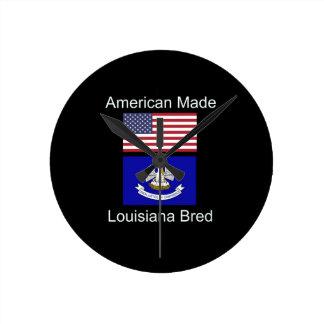 """""""American Born..Louisiana Bred"""" Flag Design Round Clock"""