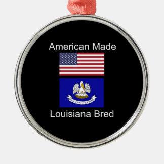 """""""American Born..Louisiana Bred"""" Flag Design Silver-Colored Round Ornament"""