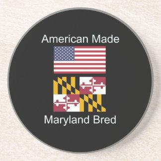 """American Born..Maryland Bred"" Flag Design Beverage Coaster"