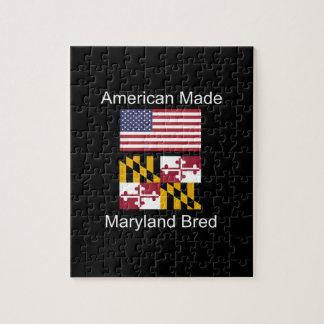 """American Born..Maryland Bred"" Flag Design Jigsaw Puzzle"
