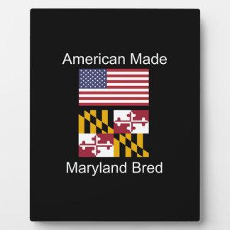 """American Born..Maryland Bred"" Flag Design Plaque"