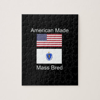 """American Born..Massachusetts Bred"" Flag Design Jigsaw Puzzle"
