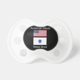 """""""American Born..Massachusetts Bred"""" Flag Design Pacifier"""