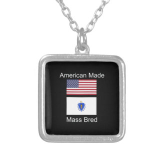 """""""American Born..Massachusetts Bred"""" Flag Design Silver Plated Necklace"""