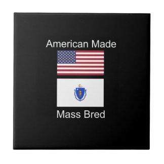 """""""American Born..Massachusetts Bred"""" Flag Design Tile"""