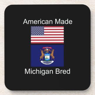 """""""American Born..Michigan Bred"""" Flag Design Drink Coaster"""