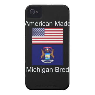"""American Born..Michigan Bred"" Flag Design iPhone 4 Case-Mate Case"