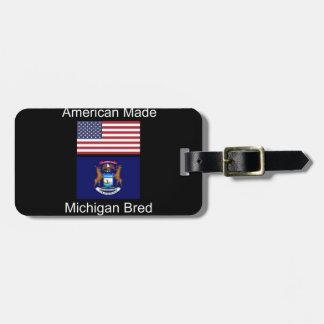 """American Born..Michigan Bred"" Flag Design Luggage Tag"