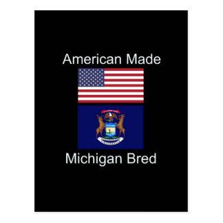 """""""American Born..Michigan Bred"""" Flag Design Postcard"""