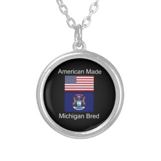 """American Born..Michigan Bred"" Flag Design Silver Plated Necklace"