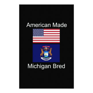 """American Born..Michigan Bred"" Flag Design Stationery"