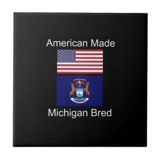"""American Born..Michigan Bred"" Flag Design Tiles"