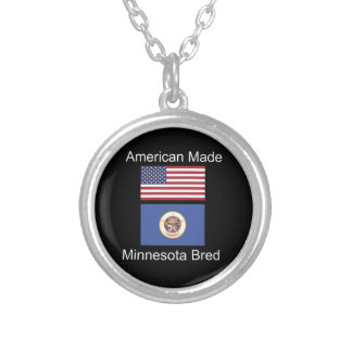 """American Born..Minnesota Bred"" Flag Design Silver Plated Necklace"