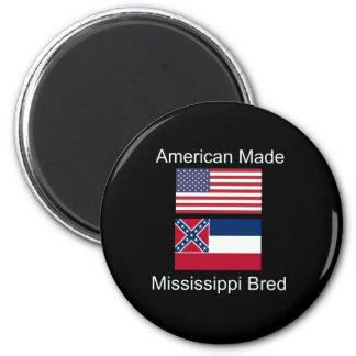 """American Born..Mississippi Bred"" Flag Design 2 Inch Round Magnet"
