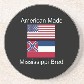 """""""American Born..Mississippi Bred"""" Flag Design Drink Coaster"""