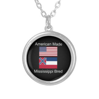 """""""American Born..Mississippi Bred"""" Flag Design Silver Plated Necklace"""
