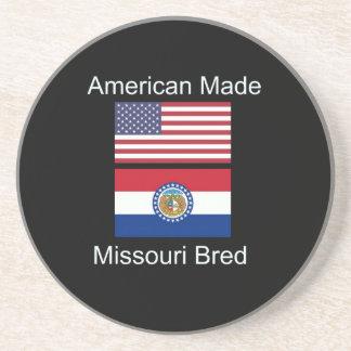 """""""American Born..Missouri Bred"""" Flag Design Beverage Coaster"""