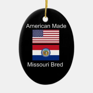 """""""American Born..Missouri Bred"""" Flag Design Ceramic Ornament"""