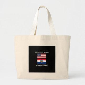 """American Born..Missouri Bred"" Flag Design Large Tote Bag"
