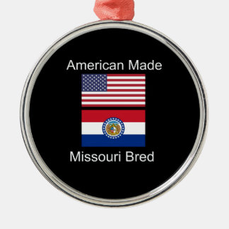 """American Born..Missouri Bred"" Flag Design Metal Ornament"