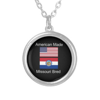 """American Born..Missouri Bred"" Flag Design Silver Plated Necklace"