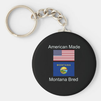 """American Born..Montana Bred"" Flags and Patriotism Keychain"