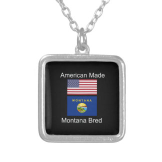 """American Born..Montana Bred"" Flags and Patriotism Silver Plated Necklace"