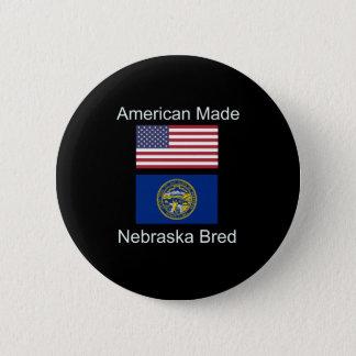 """""""American Born..Nebraska Bred"""" Flag Design 2 Inch Round Button"""