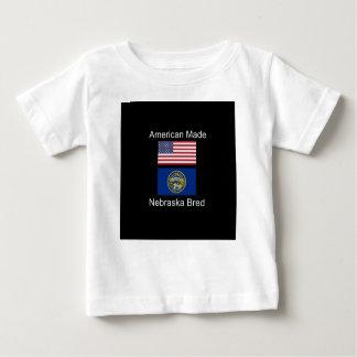 """""""American Born..Nebraska Bred"""" Flag Design Baby T-Shirt"""