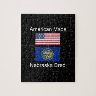 """American Born..Nebraska Bred"" Flag Design Jigsaw Puzzle"
