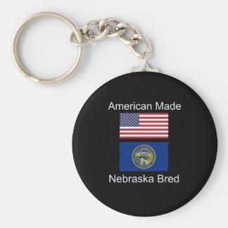 """American Born..Nebraska Bred"" Flag Design Keychain"