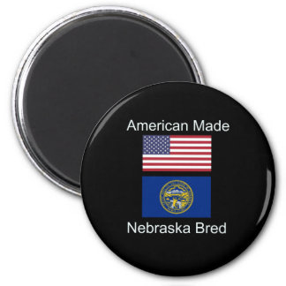 """""""American Born..Nebraska Bred"""" Flag Design Magnet"""